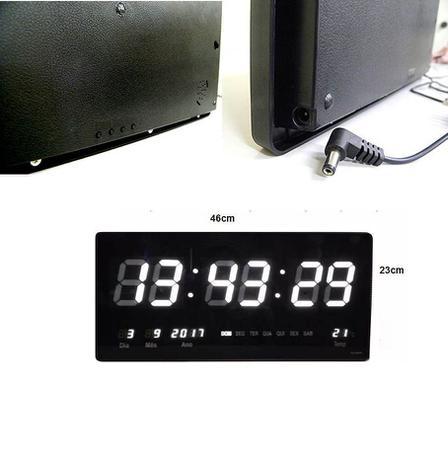 1ccc52d1778 Relogio De Parede De Led Grande Branco Digital Som Temperatura (rel-60) -  Ab midia