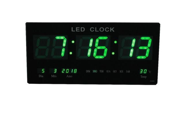 eeec3a7db4a Relogio De Parede De Led Verde Digital Alarme Data Temperatura (rel-59) -  Braslu