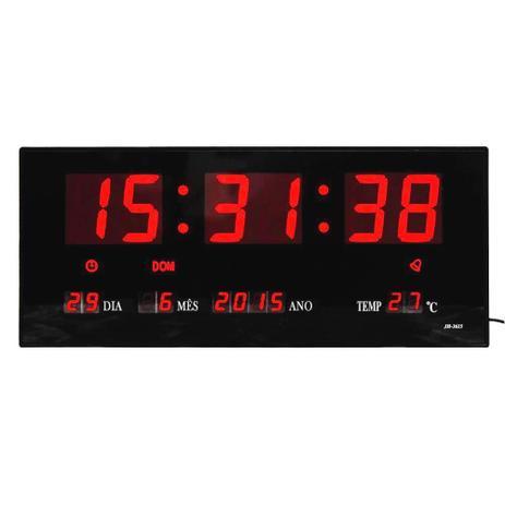Imagem de Relógio De Parede Digital Led Grande Com Data Mês e Ano Temperatura Dia Da Semana Despertador