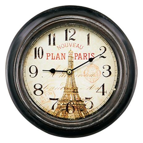 Imagem de Relógio de Parede em Metal Preto Paris Vintage 23cm