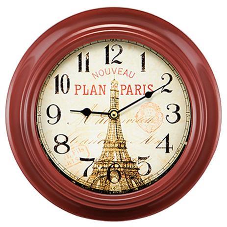 Imagem de Relógio de Parede em Metal Vermelho Paris Vintage 23cm