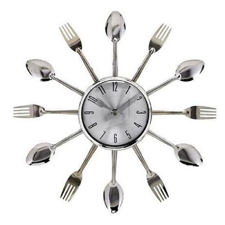 Imagem de Relógio De Parede Estilho Talheres Prata Casa Cozinha