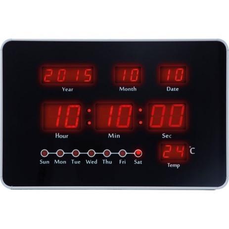 bfdd4b4fa9d Relogio de parede led digital com calendario e termometro com cabo de  energia herweg