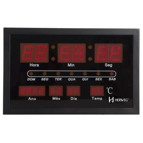 10433e378a4 Relogio de parede led digital com calendario termometro medidor de  temperatura em metal herweg