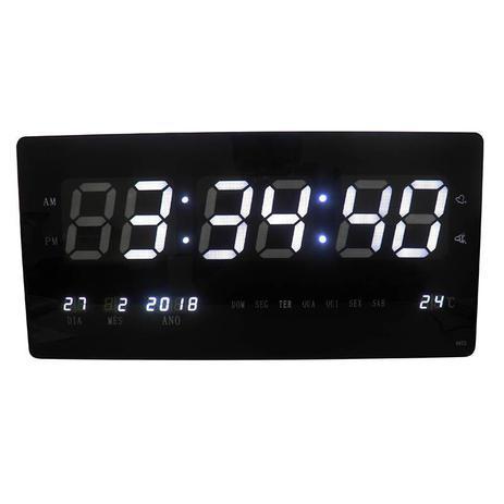 6c7be60e531 Relogio De Parede Led Grande Branco Digital Alarme Data (rel-60) - Braslu
