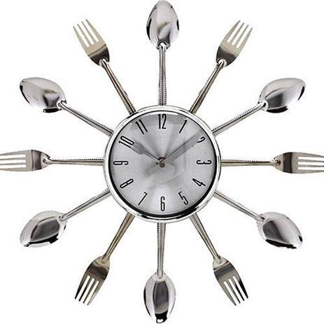 fbc4a858bbe Relogio De Parede Para Cozinha Cromado Em Formato De Talheres Grande 37cm -  Rpc