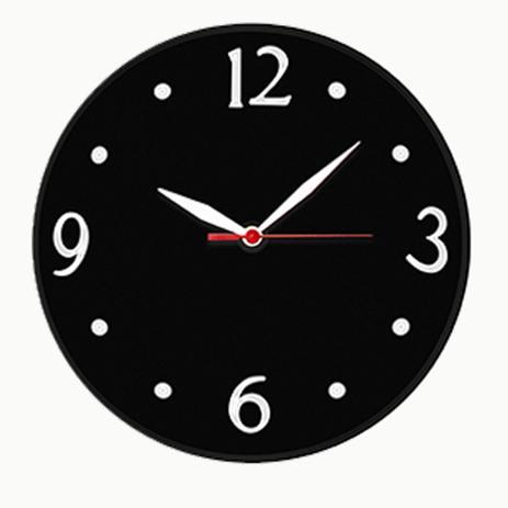Imagem de Relógio de Parede Preto Silencioso Redondo Quartz 30cm