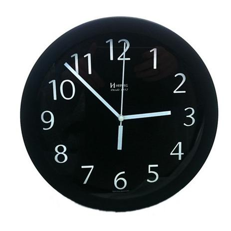 Imagem de Relógio de parede redondo moderno analógico alumínio herweg preto
