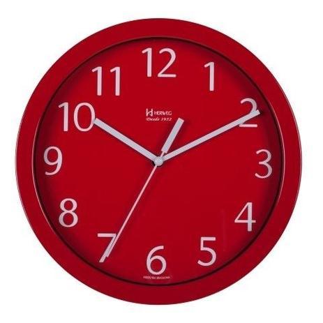 4bf397167db Relógio de parede redondo moderno analógico alumínio herweg vermelho ...