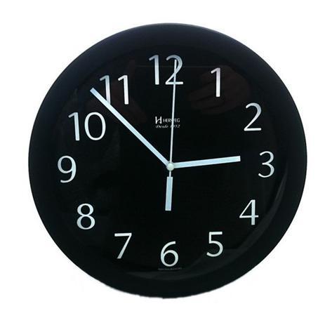 b96c43b6e68 Relógio de parede redondo moderno analógico mecanismo step alumínio herweg  preto