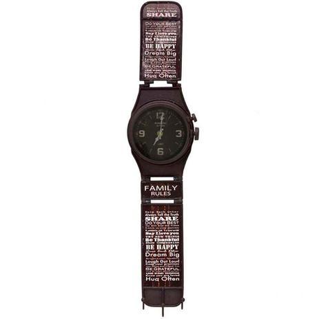 1353885e059 Relógio De Parede Relógio De Pulso Retrô Preto Com Ganchos - Versare anos  dourados