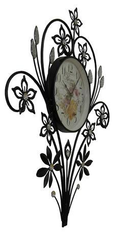 da432e0ea3b Relogio De Parede Retro Vintage Com Flores de Strass Para Decoracao - Braslu