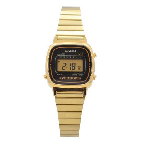 d211196f22f Relógio de Pulso Casio Vintage Digital Feminino LA670WGA1DFU - Dourado e  Prata