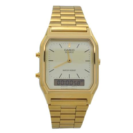 7ebdbb089259 Relógio de Pulso Casio Vintage Unissex AQ-230GA-9DMQ - Dourado ...