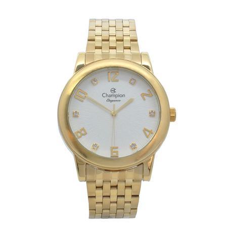 a9d1df7e3ad Relógio de Pulso Champion Feminino Kit com Brinco e Corrente CN26779W -  Dourado - Champion watch