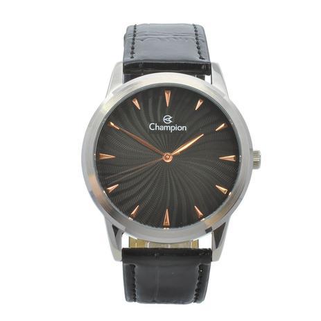 409cc178220 Relógio de Pulso Champion Unissex com Pulseira de Couro CN20588T - Prata e  Preto - Champion watch