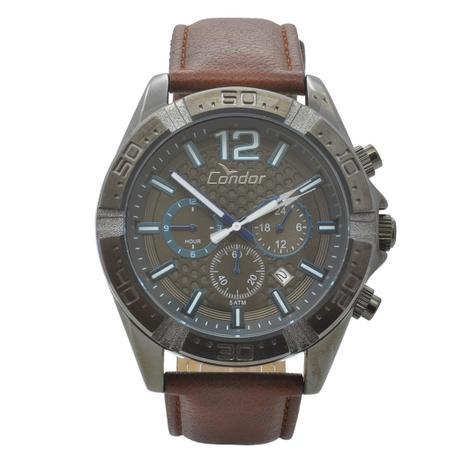 529a3b19e4b Relógio de Pulso Condor Masculino com Pulseira de Couro COVD33AS 2P -  Grafite e Marrom