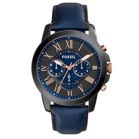 db17ff62a3751 Relógio de Pulso Fossil Grant Masculino com Pulseira de Couro FS5061 OAN -  Grafite e Azul
