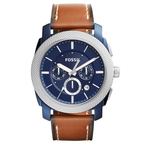 Relógio de Pulso Fossil Masculino com Pulseira de Couro FS5232 OAN - Azul,  Prata e Marrom 3137940265