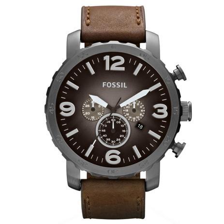 b34ceb683ae Relógio de Pulso Fossil Masculino com Pulseira de Couro JR1424 2PI -  Grafite e Marrom