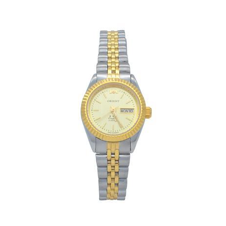 Relógio de Pulso Orient Automático Feminino Misto Crystal 559EB3X - Dourado  e Prata 8968a6b4ed