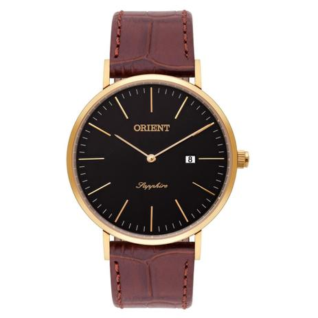 ed2b9261dd4 Relógio de Pulso Orient Masculino Slim com Pulseira de Couro MGSCS005 P1NX  - Dourado e Marrom