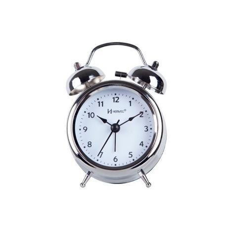 2c08ee1a9b2 Relógio despertador analógico decorativo quartz mecanismo step herweg  cromado