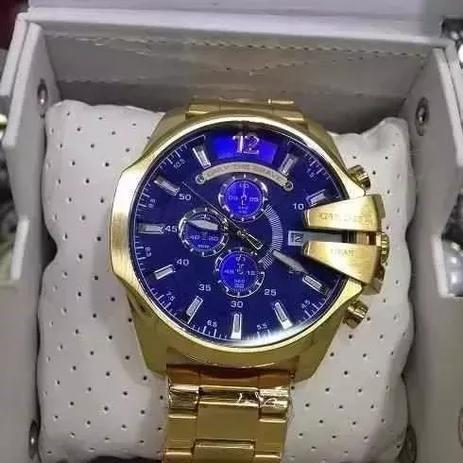 290f6f2e5 Relógio Diesel DZ4361 Original Dourado Fundo Azul - Relógio ...