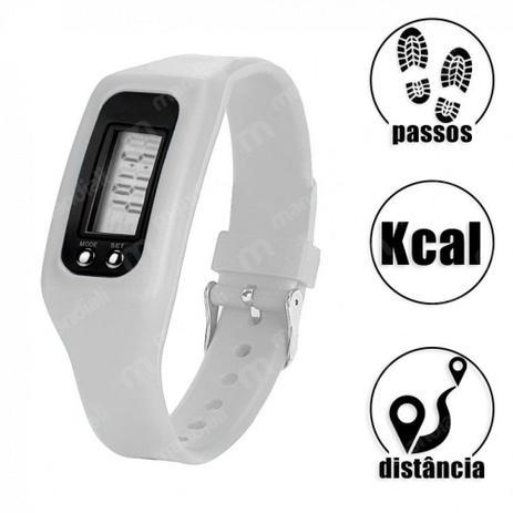 Imagem de Relogio Digital de Pulso em Silicone com Contador de Passos, Calorias e Distancia Branco  Liveup