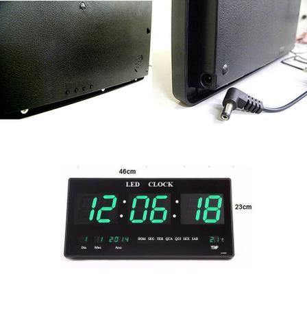 a3e41e6797d Relogio Digital Parede De Led Hora Data Alarme Verde - Braslu ...
