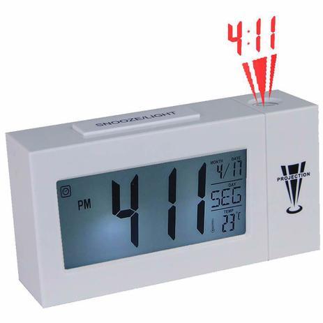2198df7b096 Relogio digital projetor de horas termometro branco CBRN02818 - Commerce  brasil
