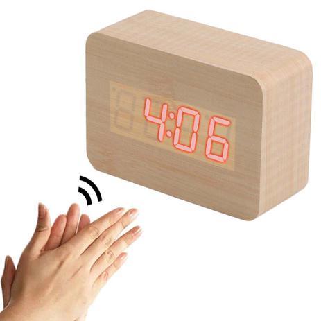 19730ef201e Relogio Digital Sensor Som Alarme Termometro Madeira Voice Control  (JA80600) - Ab midia