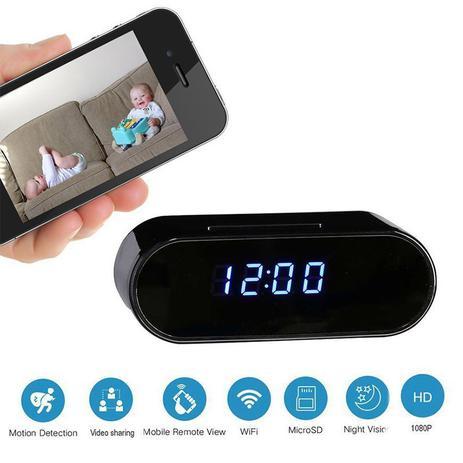 9d386109320 Relógio Espião Com Câmera HD WiFi Despertador 1080P Alarme SD Card - Braslu