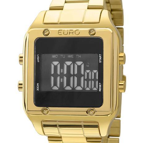 Imagem de Relógio Euro Feminino Eug2510aa/4p Quadrado Digital Dourado