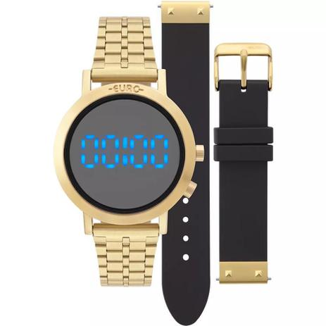 9ece7411c2f Relógio EURO Feminino FASHION FIT DOURADO TROCA PULSEIRAS EUBJ3407AA ...