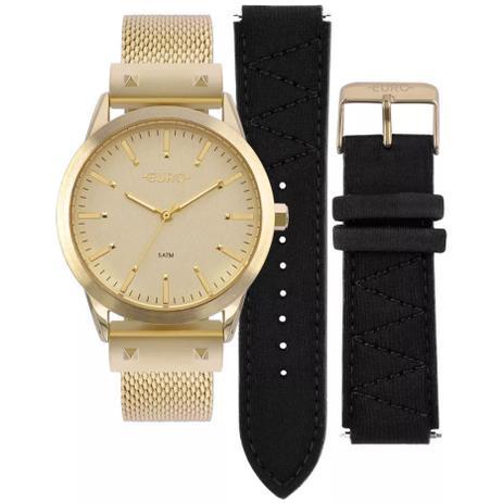 186986e3a5c18 Relógio Euro Neoprene Feminino Dourado Troca Pulseiras EU2035YOK 4D ...