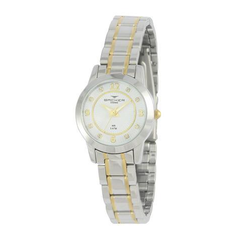7f969f70056 Relógio Feminino Backer Analógico 10217134F Prata Dourado - Relógio ...