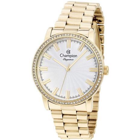 48a74aed688 Relógio Feminino Champion Dourado CN25798H Com Detalhes Brilhantes ...