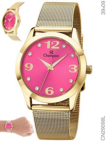 bd160d8eb67 Relógio Feminino Champion Dourado Visor Rosa Cn29098l - Relógio ...