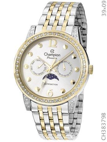 ac85cd35c1a Relógio Feminino Champion Prata Ch38379b Dourado Original - Relógio ...