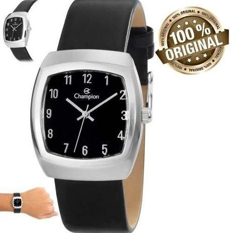 4eaf9fdb4 Relógio Feminino Champion Quadrado Pulseira Couro Ch28951t - Relógio ...