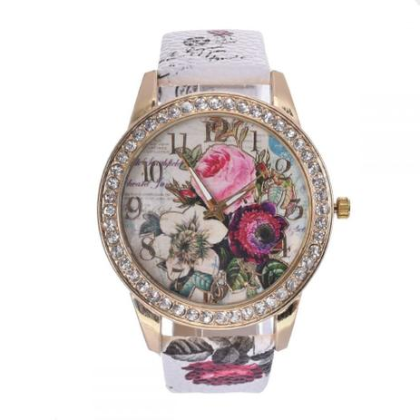764badd152f Relógio Feminino Couro Pulso Flor Quartzo Analógico Dial - Outras marcas