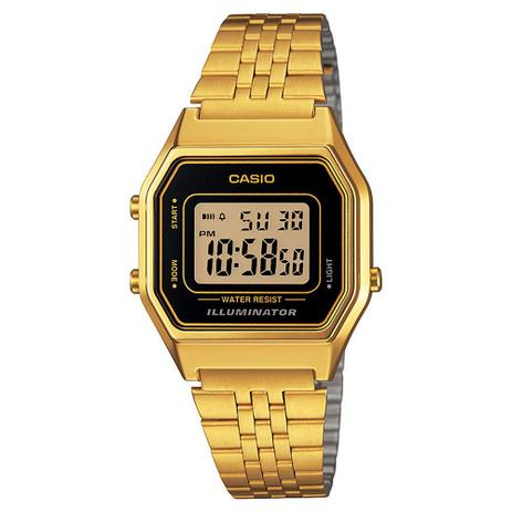 571779c3fbe Relógio Feminino Digital Casio LA680WGA1DF - Dourado - Relógio ...