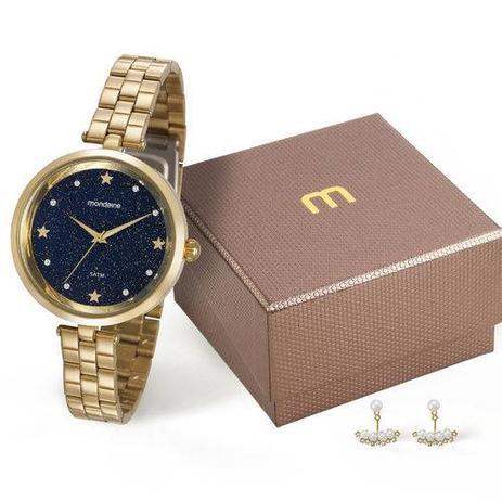 43f4d203e69 Relogio Feminino Dourado Mondaine com Fundo Azul Estrelado - Relógio ...