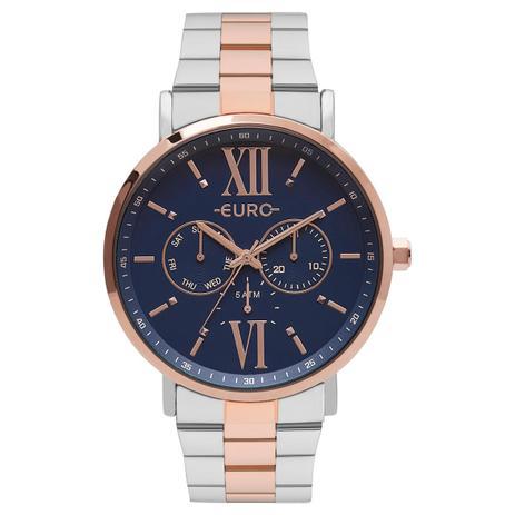 334a80334f2 Relógio Feminino Euro Multi Glow EU6P29AHB 5A 43mm Aço Prata Rosé ...