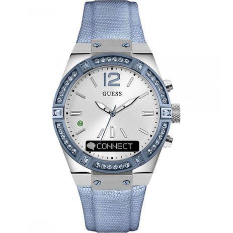49cf3fbd7a79b Relógio Feminino Guess Connect Smartwatch (azul) Modelo C0002m5 Pulseira Em  Couro