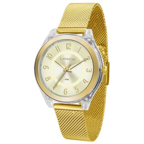 454ee277080 Relógio Feminino Lince Lrg4432p C2kx Acrílico Dourado - Relógio ...