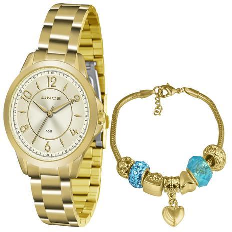 b7f4fc85350 Relogio Feminino Lince LRG4504L-KU49 Semi-Joia de Ouro 18k - Relógio ...