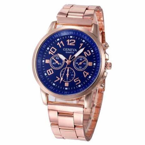 b85e69140b Relógio Feminino Ouro Rosê Luxo Casual Geneva Promoção - Relógio ...