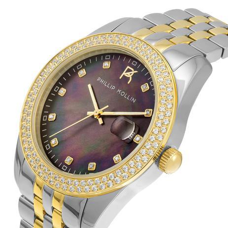 ad1df017f84 Relógio Feminino Phillip Kollin Malta Pearl Mixed Gold Black ZY28074P Fundo  Preto